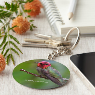 The King Wears a Pink Crown Basic Round Button Key Ring