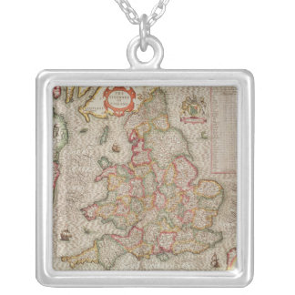 The Kingdome of England, engraved by Jodocus Silver Plated Necklace