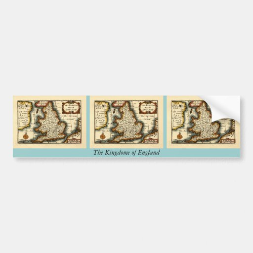 The Kingdome of England Historic Map Bumper Stickers
