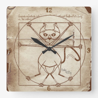 The Kinky Vitruvian Kitty Wall Clocks