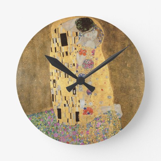 The Kiss, 1907-08 (oil on canvas) Round Wall Clock