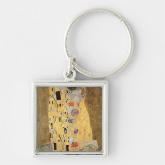 The Kiss, 1907-08 Silver-Colored Square Key Ring