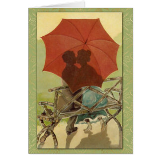 """The Kiss"" 1907 Vintage Postcard Art & Damask"