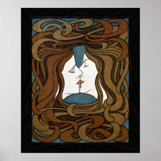 The Kiss - Art Nouveau Poster