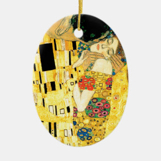 The Kiss by Gustav Klimt Art Nouveau Ceramic Oval Decoration