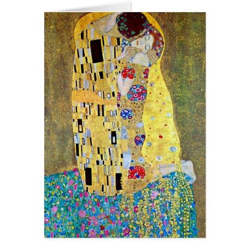 The Kiss by Gustav Klimt, Art Nouveau Christmas Greeting Card