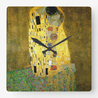The Kiss by Gustav Klimt Square Wallclocks