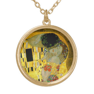 The Kiss by Gustav Klimt Gold Plated Necklace