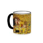 The Kiss By Gustav Klimt Ringer Mug