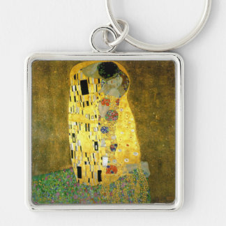 The Kiss by Gustav Klimt Silver-Colored Square Key Ring