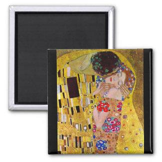 The Kiss by Gustav Klimt Square Magnet