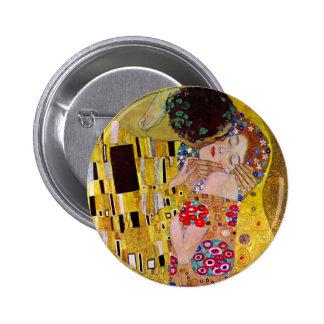 The Kiss by Gustav Klimt, Vintage Art Nouveau 6 Cm Round Badge