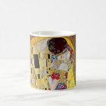 The Kiss by Gustav Klimt, Vintage Art Nouveau Basic White Mug