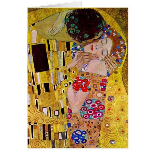 The Kiss by Gustav Klimt, Vintage Art Nouveau Greeting Cards