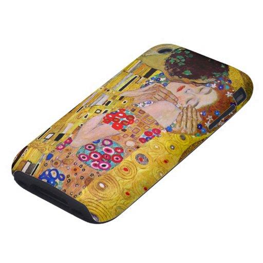 The Kiss by Gustav Klimt, Vintage Art Nouveau iPhone 3 Tough Cover