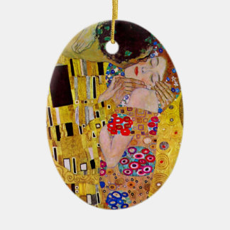 The Kiss by Gustav Klimt, Vintage Art Nouveau Ceramic Oval Decoration