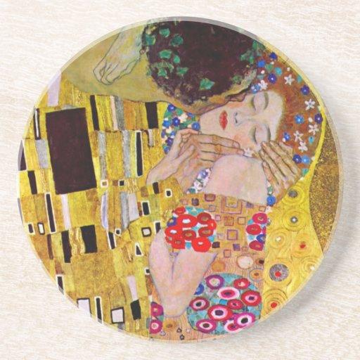 The Kiss by Gustav Klimt, Vintage Art Nouveau Coasters