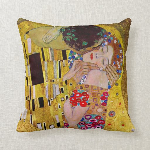 The Kiss by Gustav Klimt, Vintage Art Nouveau Pillow