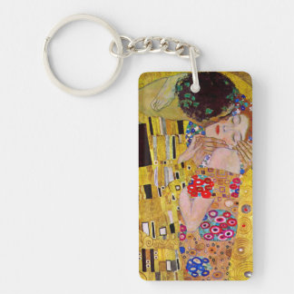 The Kiss by Gustav Klimt, Vintage Art Nouveau Double-Sided Rectangular Acrylic Key Ring