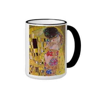 The Kiss by Gustav Klimt, Vintage Art Nouveau Ringer Mug