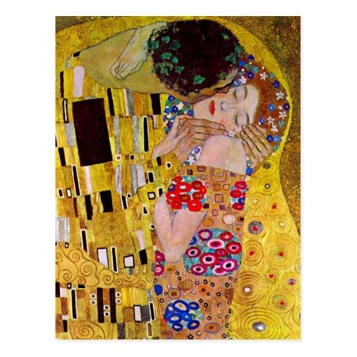 The Kiss by Gustav Klimt, Vintage Art Nouveau Post Cards