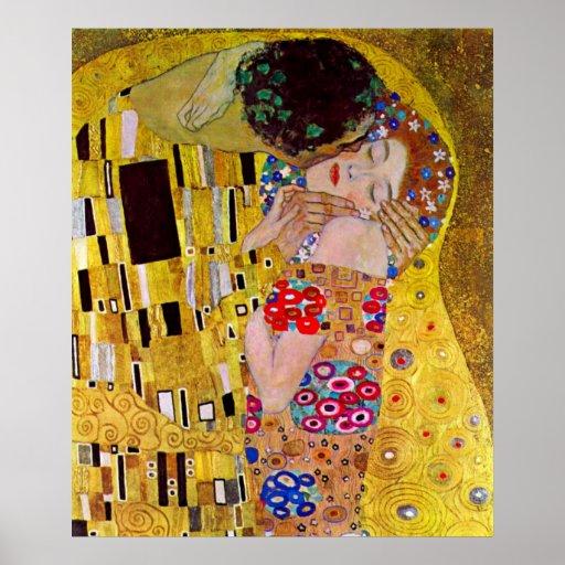 The Kiss by Gustav Klimt, Vintage Art Nouveau Poster