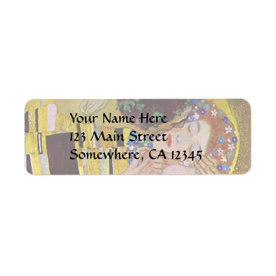 The Kiss by Gustav Klimt, Vintage Art Nouveau Return Address Label