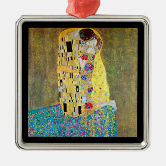 The Kiss by Gustav Klimt, Vintage Art Nouveau Silver-Colored Square Decoration