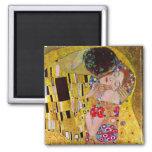 The Kiss by Gustav Klimt, Vintage Art Nouveau Square Magnet