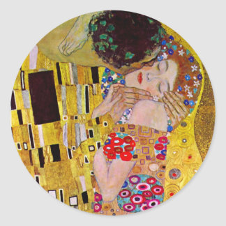 The Kiss by Gustav Klimt, Vintage Art Nouveau Sticker