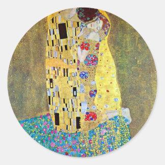 The Kiss by Gustav Klimt, Vintage Art Nouveau Round Sticker
