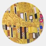The Kiss by Gustav Klimt, Vintage Pattern Detail Round Stickers