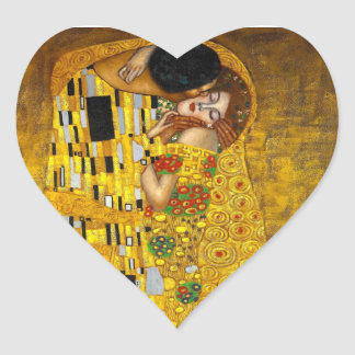 The Kiss By Gustave Klimt Heart Sticker