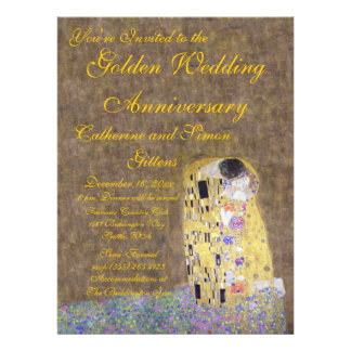 The Kiss by Klimt Golden Wedding Anniversary Invit Personalized Announcements