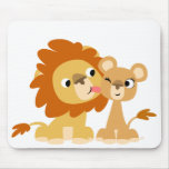 The Kiss: Cute Cartoon Lion Couple Mousepad