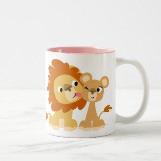 The Kiss: Cute Cartoon Lion Couple Mug