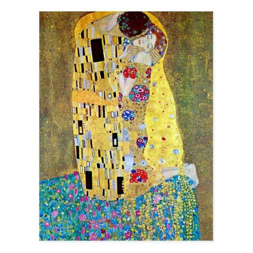 The Kiss (Der Kuss) by Gustav Klimt, Art Nouveau Post Card