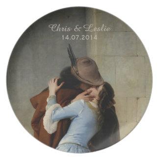 The Kiss / Il Bacio custom text wedding plates