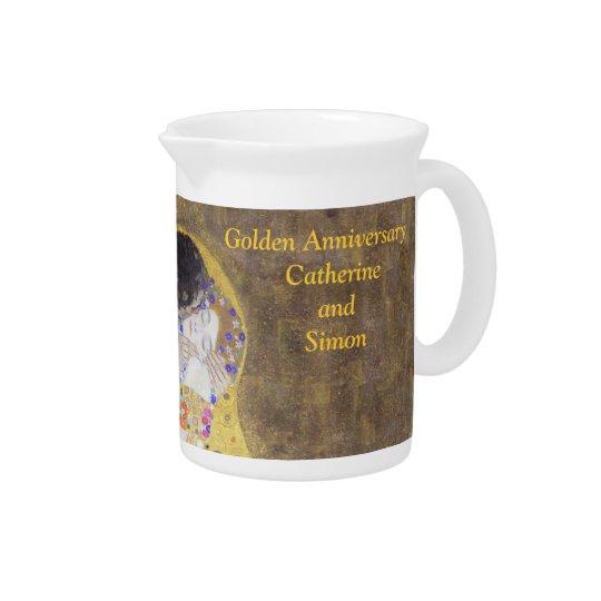 The Kiss Klimt Golden Wedding Anniversary Custom P Drink Pitcher