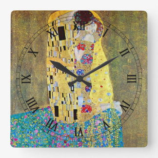The Kiss (original Der Kuss) by Gustav Klimt Square Wall Clock