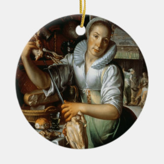 The Kitchen Maid (with Christ, Mary and Martha) c. Round Ceramic Decoration
