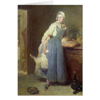 The Kitchen Maid with Provisions, 1739 Greeting Card