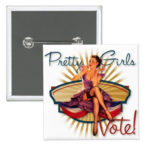 The Kitsch Bitsch ; 1940's Pretty Girls Vote! 15 Cm Square Badge