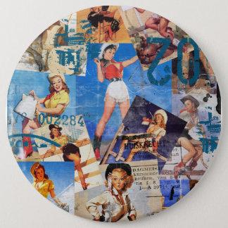 The Kitsch Bitsch : Destroyed Cowgirl Pin-Ups No.1 6 Cm Round Badge