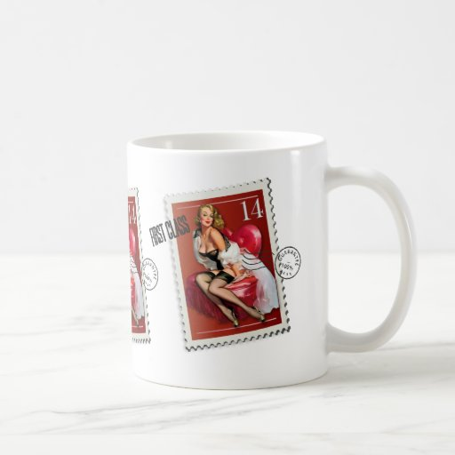 The Kitsch Bitsch : First Class Valentine Pin-Up Basic White Mug