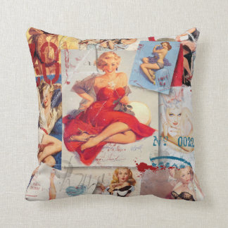The Kitsch Bitsch : Love Pin-Up Collage 1 Cushion