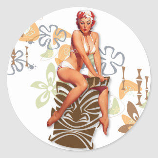 The Kitsch Bitsch : The Tiki Goddess Classic Round Sticker
