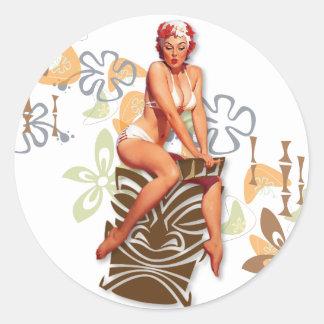 The Kitsch Bitsch : The Tiki Goddess Classic Round Sticker