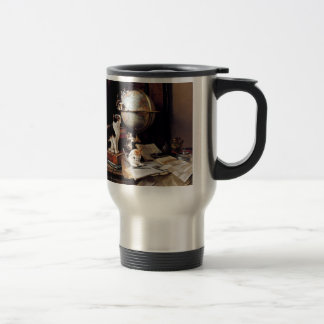 The kitten which plays in the globe stainless steel travel mug