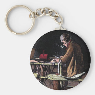 """The Knife Grinder""  Vintage Illustration Basic Round Button Key Ring"